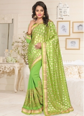 Lustrous Embroidered Work Mint Green Traditional Saree