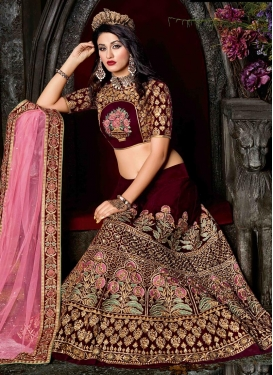 Luxurious Embroidered Work Velvet Trendy A Line Lehenga Choli