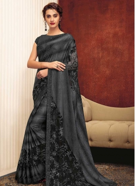 Lycra Black and Grey Trendy Classic Saree For Festival