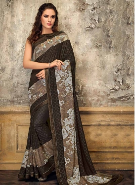 Lycra Brown and Olive Digital Print Work Designer Contemporary Style Saree