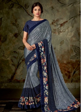 Lycra Digital Print Work Classic Designer Saree