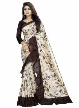 Lycra Digital Print Work Coffee Brown and Cream Trendy Designer Saree