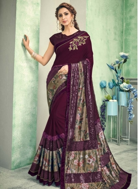 Lycra Digital Print Work Designer Contemporary Saree