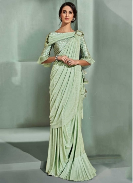 Lycra Embroidered Work Designer Contemporary Saree