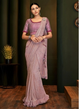 Lycra Embroidered Work Designer Contemporary Style Saree