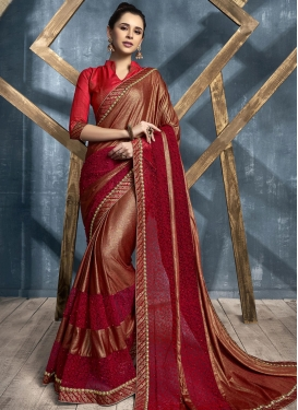 Lycra Embroidered Work Trendy Designer Saree