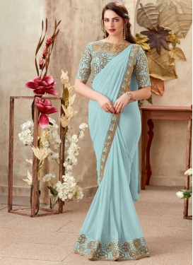 Lycra Embroidered Work Trendy Saree