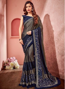 Lycra Lace Work Brown and Navy Blue Traditional Designer Saree
