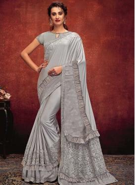 Lycra Traditional Designer Saree For Festival