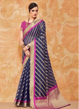 Magenta and Navy Blue Contemporary Style Saree