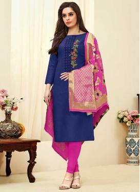 Magenta and Navy Blue Embroidered Work Trendy Churidar Salwar Kameez