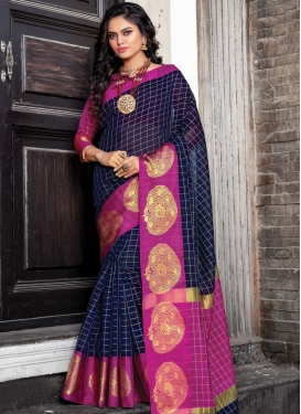 Magenta and Navy Blue Woven Work Designer Traditional Saree