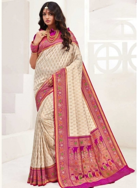 Magenta and Off White Woven Work Designer Contemporary Style Saree