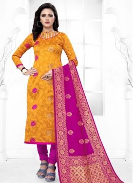 Magenta and Orange Trendy Straight Salwar Suit