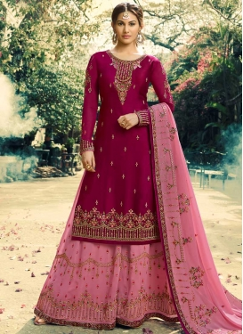 Magenta and Pink Embroidered Work Palazzo Straight Salwar Kameez
