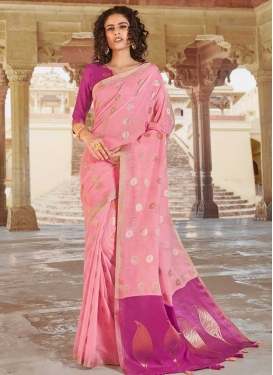 Magenta and Pink Linen Designer Contemporary Style Saree For Casual