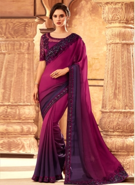 Magenta and Purple Embroidered Work Contemporary Style Saree