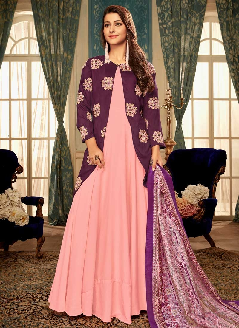 Magenta and Salmon Booti Work Readymade Trendy Gown