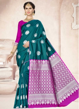 Magenta and Teal Thread Work Banarasi Silk Contemporary Style Saree