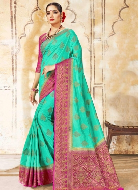 Magenta and Turquoise Woven Work Traditional Saree