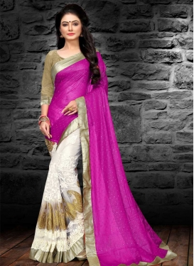Magenta and White Embroidered Work Half N Half Trendy Saree