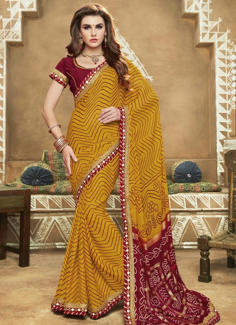 Maroon /& Mustard Yellow Bandhani Printed Saree