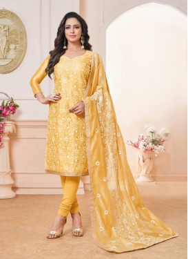 Magnetic Yellow Embroidered Cotton Silk Churidar Designer Suit