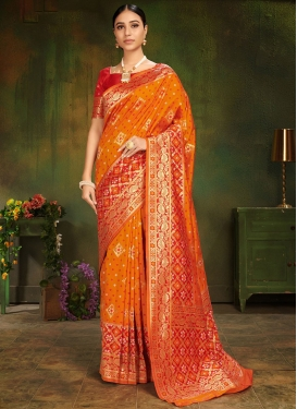 Magnetize Orange Traditional Saree