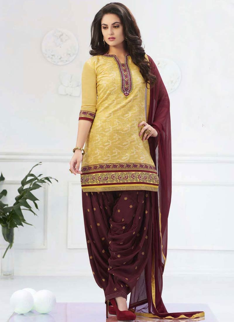 Magnetize Yellow And Coffee Brown Color Patiala Style Punjabi Suit,Blue Benjamin Moore Color Chart