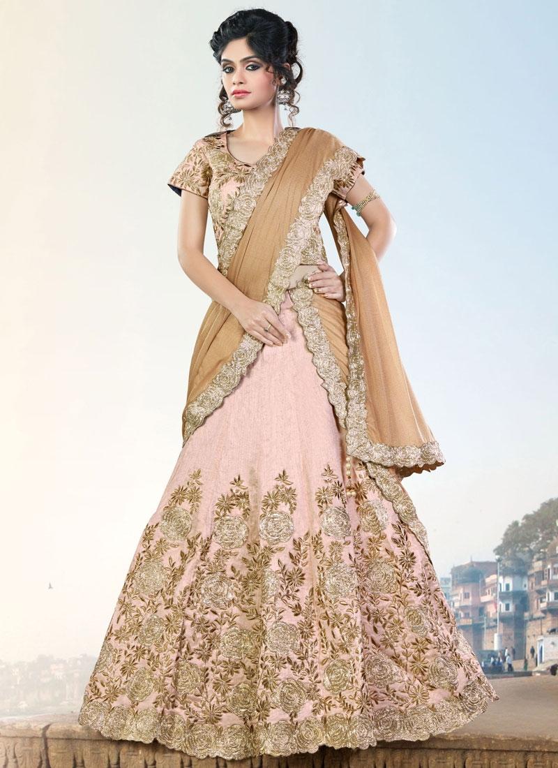 Magnificent Embroidered Work Raw Silk Beige Trendy A Line Lehenga Choli
