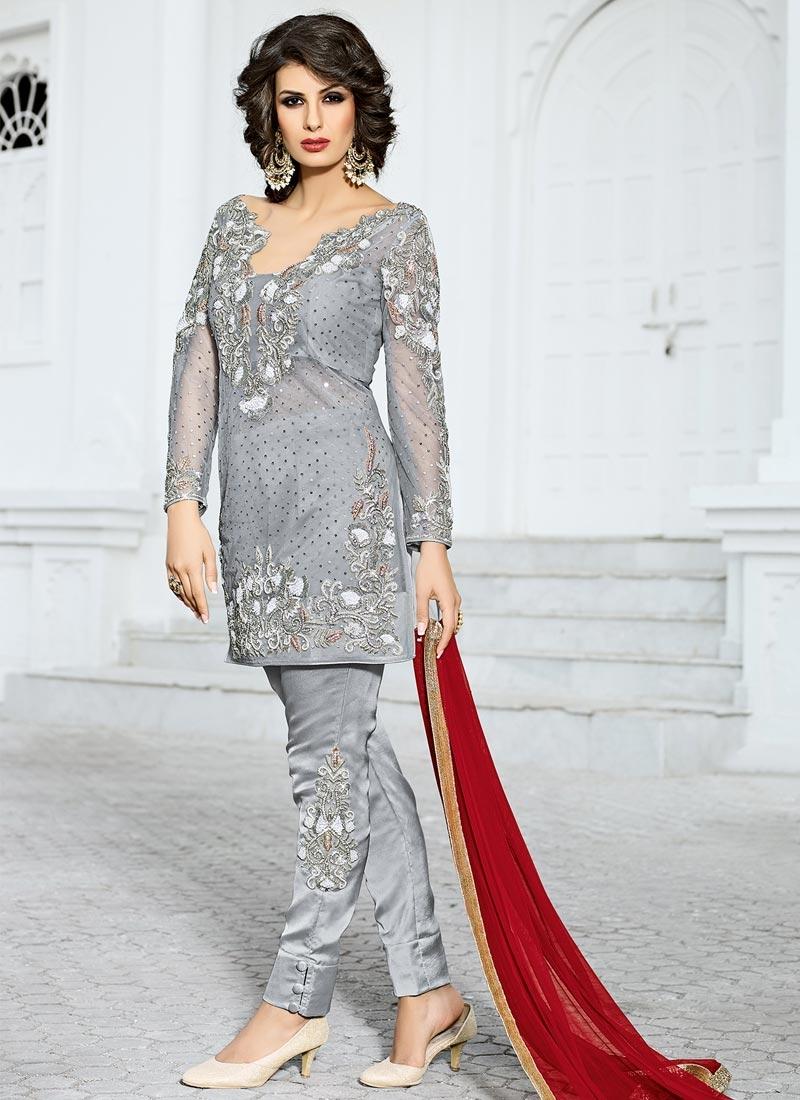 Magnificent Net Pant Style Designer Salwar Kameez For Ceremonial