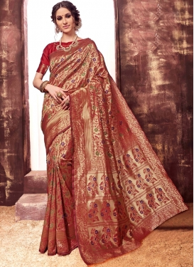 Magnificent Red Art Silk Traditional Saree