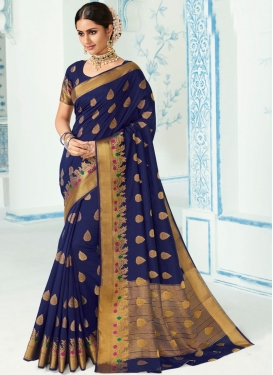 Majestic Art Silk Navy Blue Weaving Designer Traditional Saree