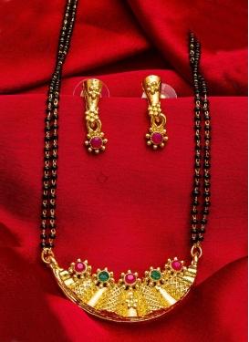 Majestic Black and Gold Beads Work Gold Rodium Polish Mangalsutra Set
