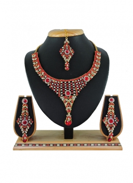 Majesty Alloy Red and White Stone Work Necklace Set