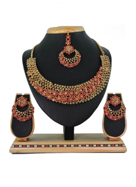 Majesty Gold and Red Stone Work Necklace Set