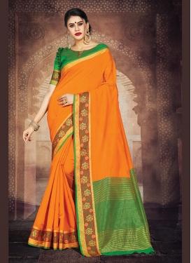 Majesty Orange Weaving Art Silk Casual Saree