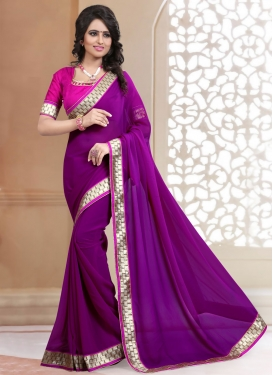 Majesty Purple Color Faux Georgette Casual Saree