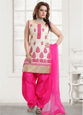 Malbari Silk Beige and Rose Pink Readymade Salwar Suit