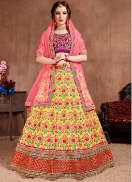 Malbari Silk Embroidered Work A Line Lehenga Choli