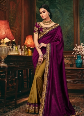 Malbari Silk Embroidered Work Half N Half Designer Saree