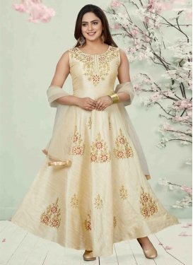 Malbari Silk Embroidered Work Readymade Floor Length Gown