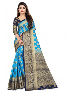 Malbari Silk Light Blue and Navy Blue Trendy Classic Saree