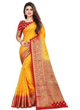 Malbari Silk Mustard and Red Traditional Designer Saree For Casual