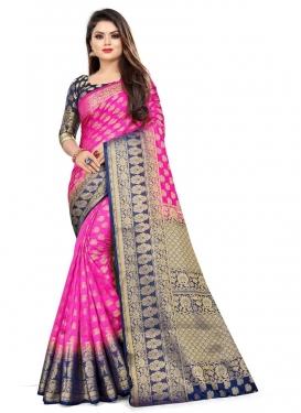 Malbari Silk Navy Blue and Rose Pink Woven Work Contemporary Style Saree