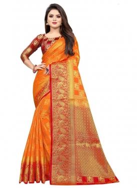 Malbari Silk Woven Work Orange and Red Designer Contemporary Saree