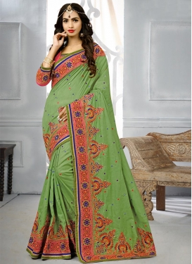 Manipuri Silk Embroidered Work Traditional Saree