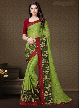 Maroon and Mint Green Designer Traditional Saree