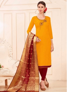 Maroon and Mustard Beads Work Churidar Salwar Suit