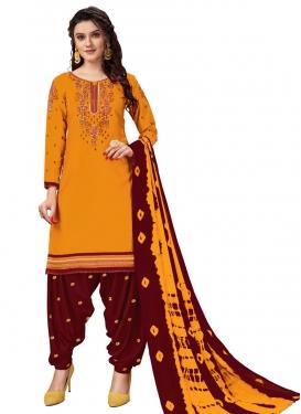 Maroon and Mustard Cotton Trendy Patiala Salwar Kameez